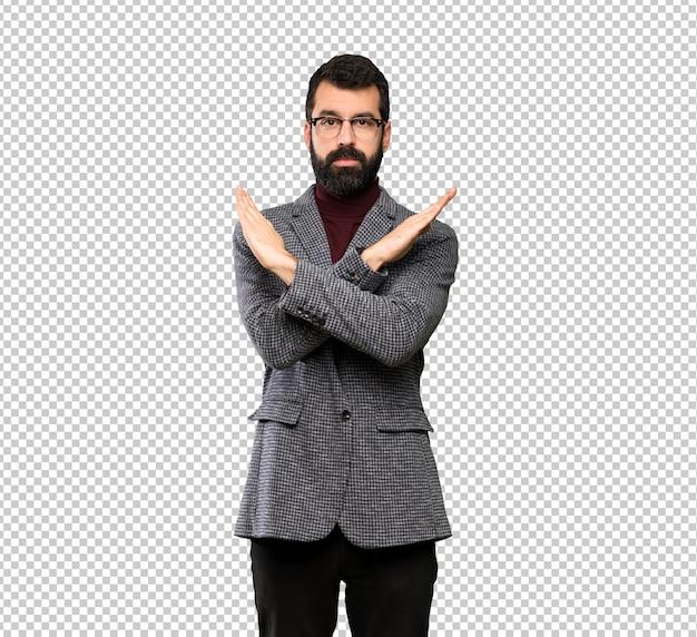 Gut aussehender mann mit brille keine geste machen