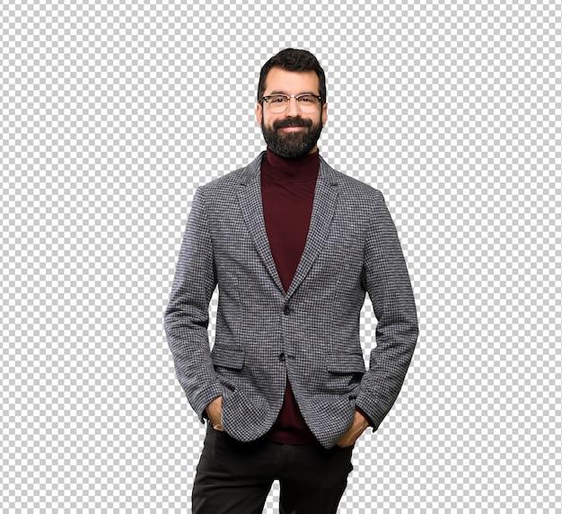 Gut aussehender mann mit brille lachen