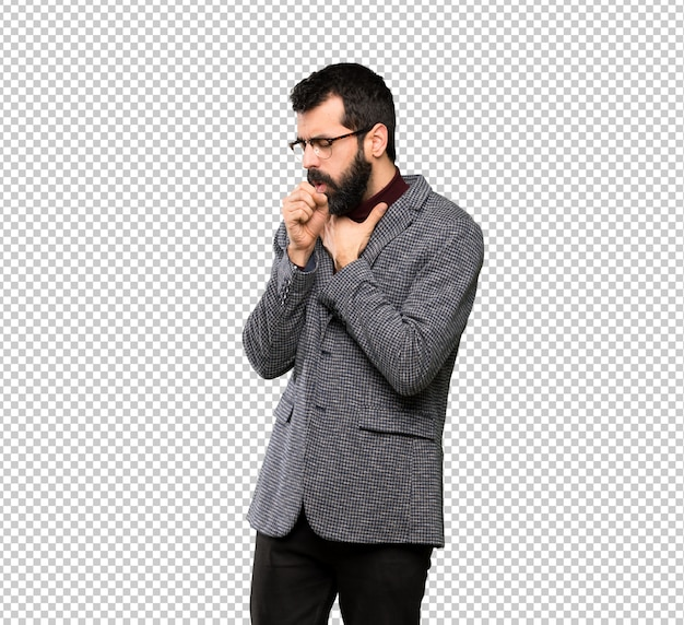 Gut aussehender mann mit brille leidet mit husten und fühlt sich schlecht