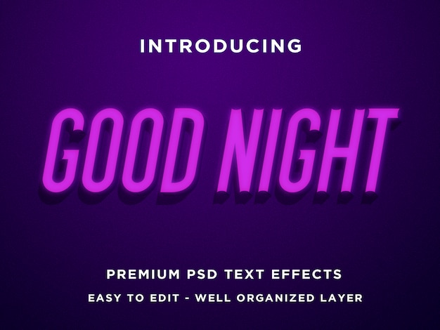 Gute nacht - 3d modern editable psd text effects mockup