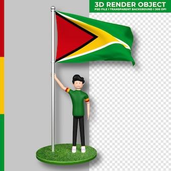 Guyana-flagge mit niedlichen menschen-cartoon-figur. 3d-rendering.