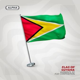 Guyana realistische 3d strukturierte flagge für komposition