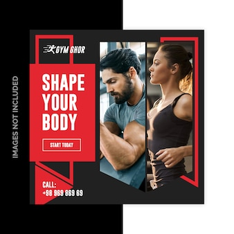 Gym fitness social media web-banner