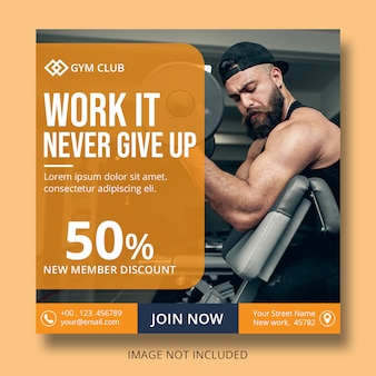 Gym quadrat flyer vorlage