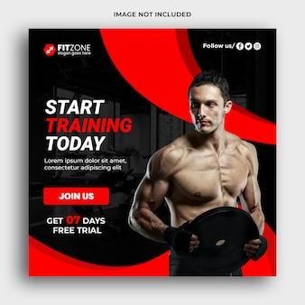 Gym social media und web-banner-vorlage premium psd