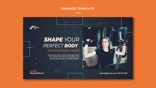 Gym template design für banner thema Kostenlosen PSD