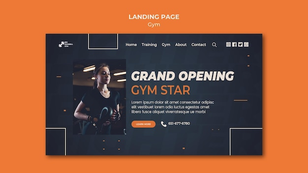 Gym template design landing page konzept