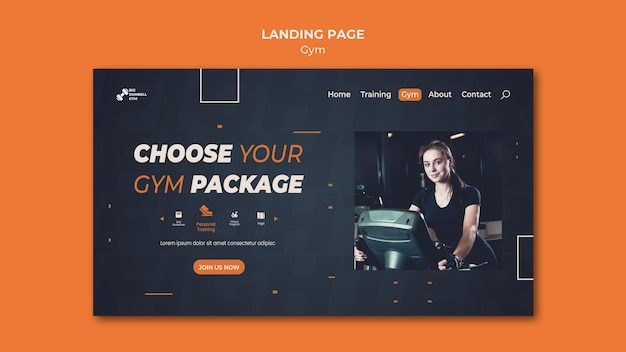 Gym template design landing page thema