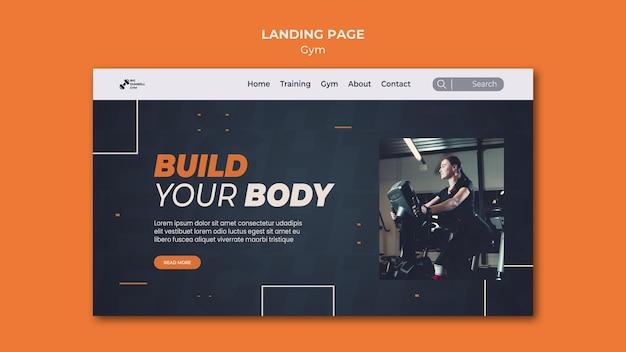 Gym template design landing page Premium PSD