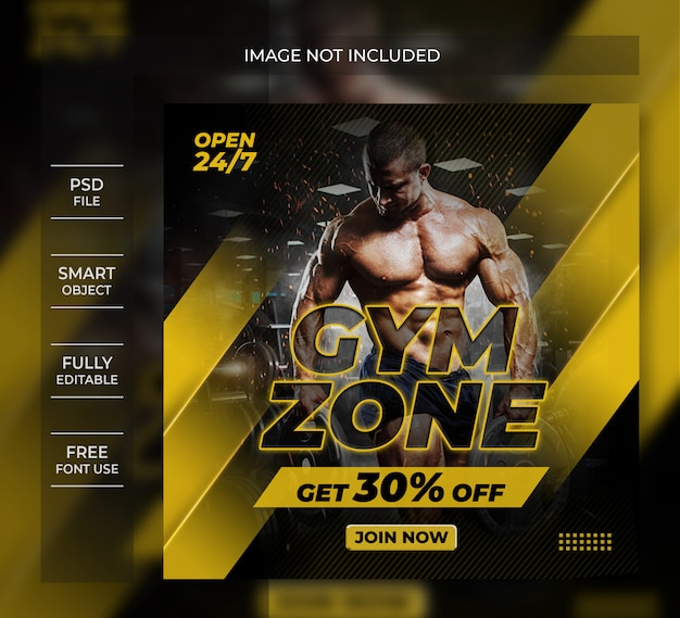 Gym zone flyer social media post vorlage