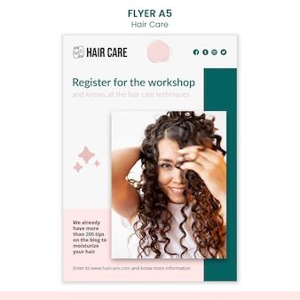 Haarpflege techniken flyer vorlage stil