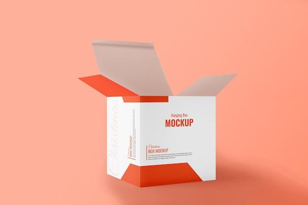 Hängende elektronik-produktbox-mockup offene ansicht für weihnachten