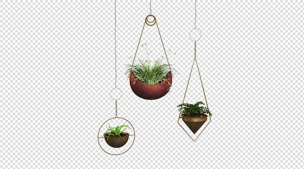 Hängende pflanze 3d-rendering