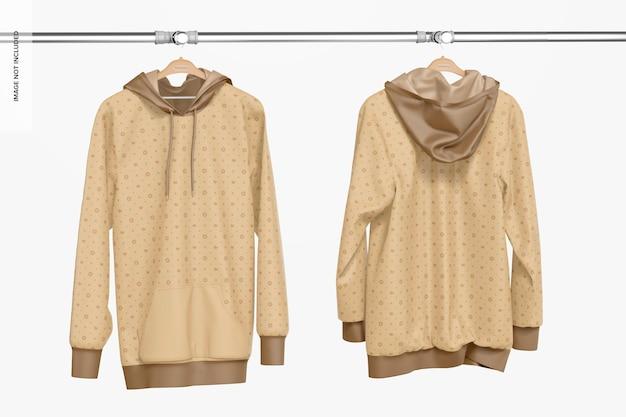 Hängendes hoodie-modell, vorder- und rückseite