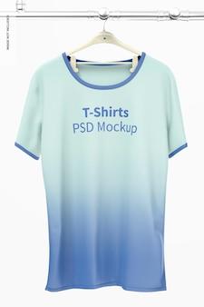 Hängendes t-shirt mockup, vorderansicht