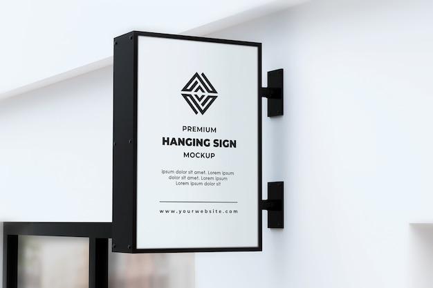 Hängendes zeichen mockup outdor neonbox schwarz und weiß