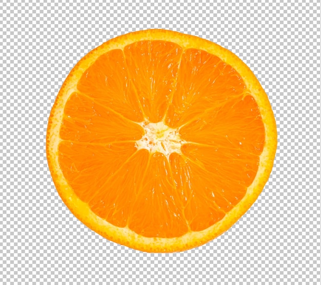 Halbe orangenfrucht in scheiben geschnitten isoliert