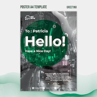 Hallo nachricht a4 poster