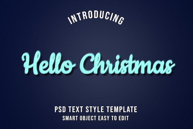 Hallo weihnachten - blaue neonglühen-texteffekte