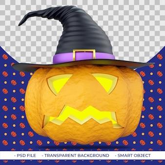 Halloween 3d kürbis mit schnitzen augen und mund im hexenhut