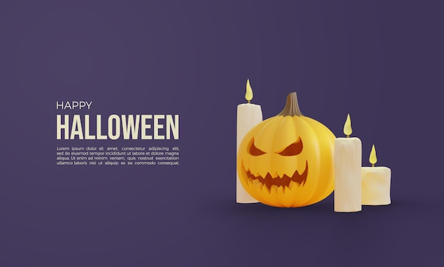 Halloween 3d rendering mit einem kürbis und drei kerzen