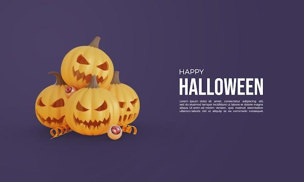 Halloween-3d-rendering mit gestapeltem 3d-kürbis