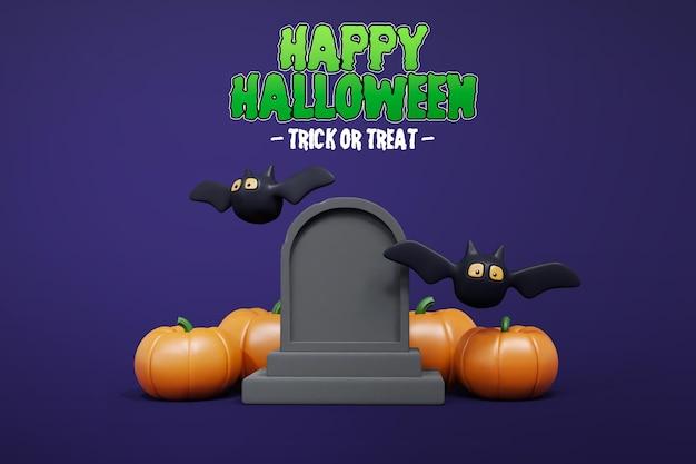 Halloween 3d-rendering mit grabsteinfledermaus und kürbis 3d premium psd