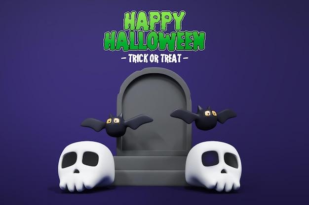 Halloween 3d-rendering mit grabsteinschädel und fledermaus 3d premium psd