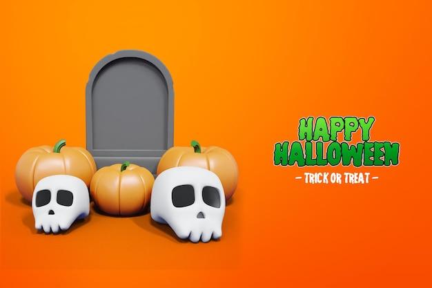 Halloween 3d-rendering mit grabsteinschädel und kürbis 3d premium psd
