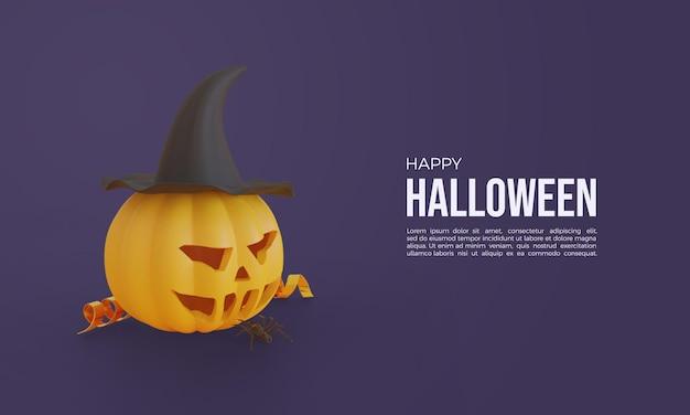 Halloween 3d rendering mit kürbis und hexenhut