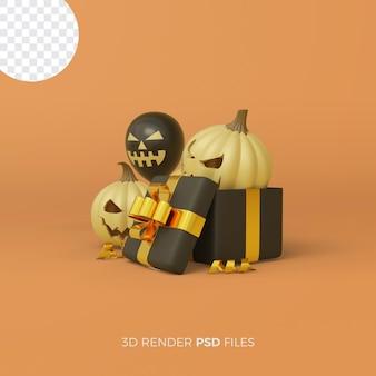 Halloween 3d-rendering mit kürbissen und luftballons in einer geschenkbox
