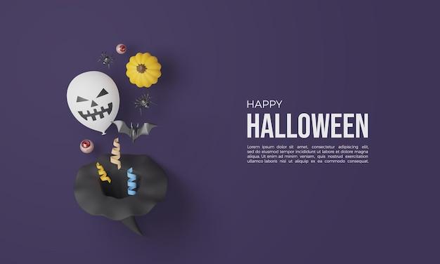 Halloween 3d renderings mit hexenhüten und anderen elementen