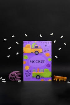 Halloween-arrangement mit mock-up-karte
