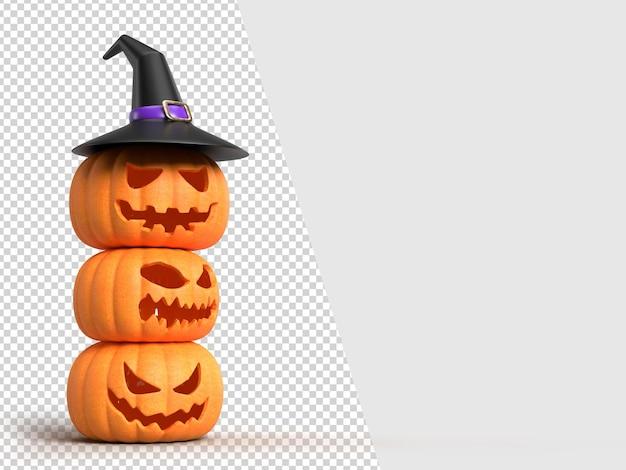 Halloween-hintergrundmodell mit kürbissen und hexenhut. halloween-konzeptmodell