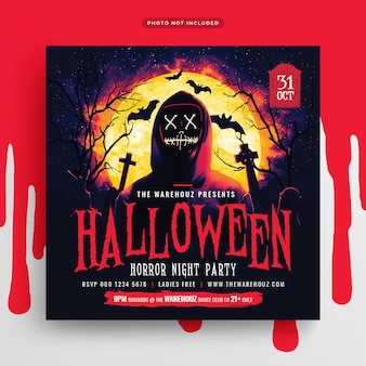 Halloween horror nacht party flyer social media post und web banner