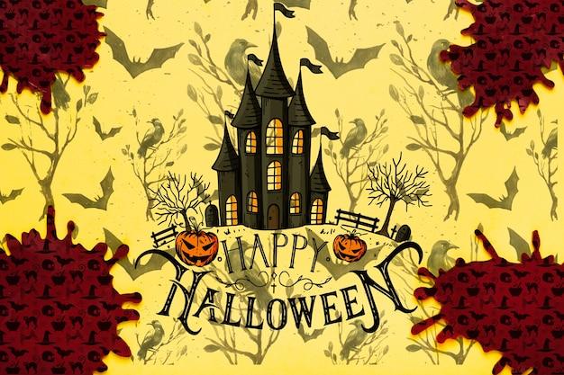 Halloween-konzepthintergrund mit geisterhaus