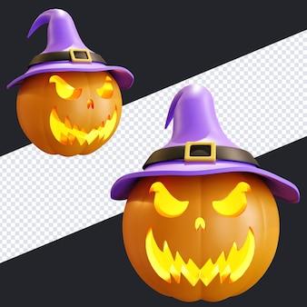 Halloween-kürbis-gesichtsausdruck mit lila hexenhut 3d-rendering-illustration