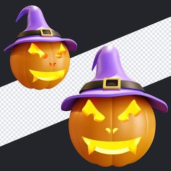 Halloween-kürbis mit lila hexenhut 3d-render-illustration
