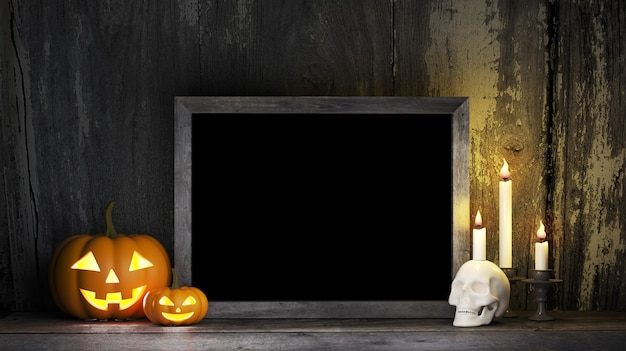 Halloween-kürbiskerzen mit tafel, horrorfilmplakatspott oben
