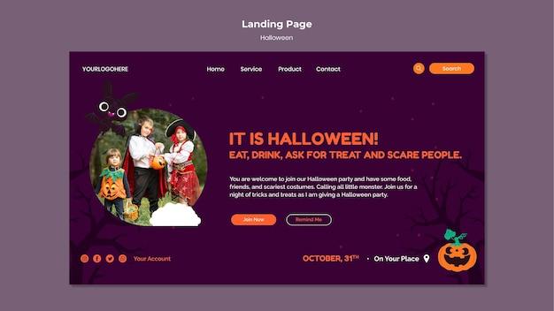 Halloween-landing-page-vorlage mit foto