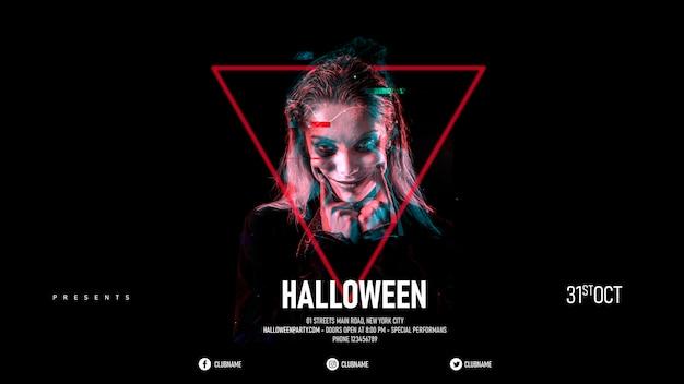 Halloween-make-upfrau in einem dreieck