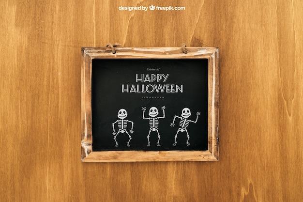 Halloween mockup mit holzschiefer