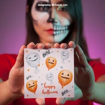 Halloween-mockup mit vampir-karte