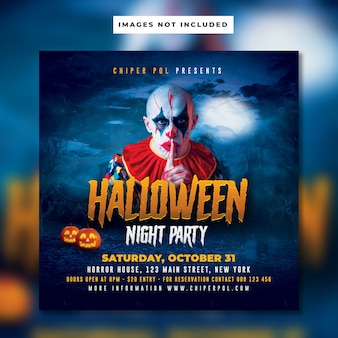 Halloween nacht party flyer vorlage