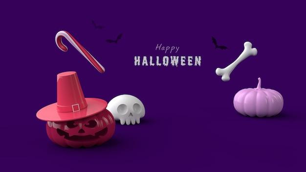 Halloween-nachtbanner psd-vorlage 3d render
