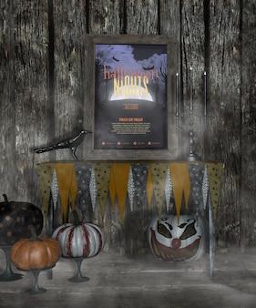 Halloween-nachtfeld im nebel mit furchtsamen kürbisen