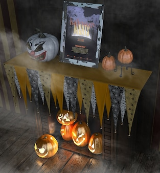 Halloween-nachtrahmen mit geschnitzten kürbisen