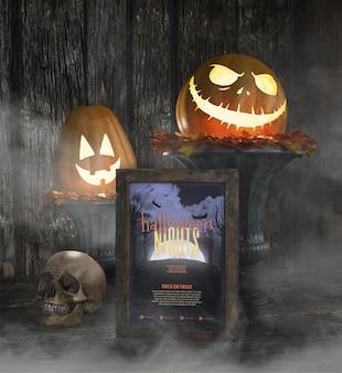 Halloween-nachtrahmenmodell mit geschnitztem kürbis