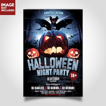 Halloween night party print template flyer