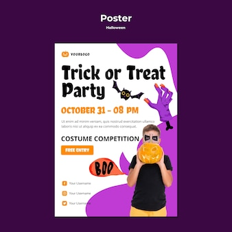 Halloween party poster vorlage stil
